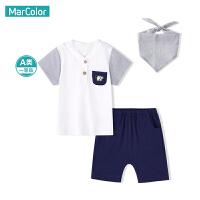 【119元4件】巴拉巴拉旗下马卡乐男童英伦风时尚套装儿童夏季绅士两件套口水巾