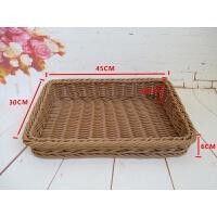 仿藤编水果篮斜口面包篮子超市展示篮塑料梯形托盘编织蔬菜收纳筐