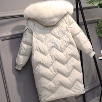 羽绒服女中长款2019韩国冬网红外套潮 白色 环保毛领
