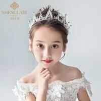 儿童皇冠头饰公主水晶发箍白色女孩生日发饰
