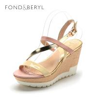 【189元2双】菲伯丽尔(Fondberyl)女鞋 牛皮革坡跟圆头休闲凉鞋FB52111855