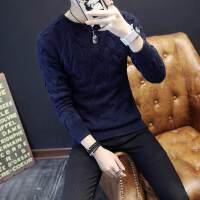 秋冬季加厚男圆领毛衣潮流修身套头贴身纯色粗毛线衣青少年打底衫