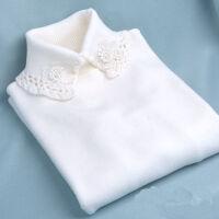 高领毛衣花边蕾丝冬女打底针织衫套头甜美花朵女装弹力紧身上衣 乳白 807款 均码 适合80-138斤