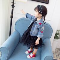 女童牛仔外套2019新款春装儿童洋气夹克衫1一3岁女宝宝公主上衣潮 刺绣玫瑰外套