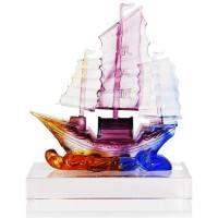 20190702043126602一帆风顺帆船摆件 琉璃 办公室装饰品办公桌摆件一帆风顺帆船水晶工艺品开业礼品 琉璃一
