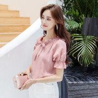 夏季新品短袖棉麻衬衫韩版中袖衬衣休闲宽松小清新花边领打底衫