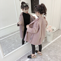 童装女童秋装外套2018新款韩版中大儿童洋气毛呢子大衣中长款潮衣