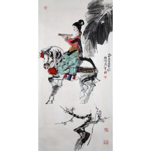 著名国画家    程十发《游春图》