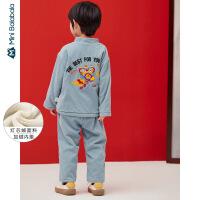 迷你巴拉巴拉儿童套装男童冬装中国风上衣萝卜裤两件套