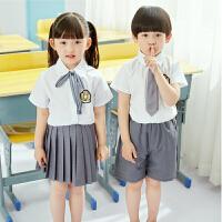幼儿园园服夏装棉英伦风小学生班服套装儿童校服六一毕业服 白色衬衫+灰色短裙+领结+徽章 160cm