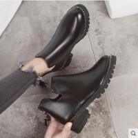 马丁靴女百搭新款潮鞋短筒英伦风学生韩版休闲百搭粗跟女士短靴