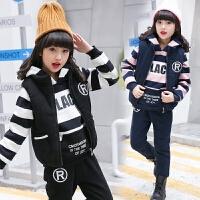 童装女童套装秋冬装2018新款时髦洋气大童儿童运动绒厚款三件套