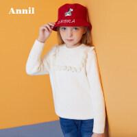 【活动价:199.5】安奈儿童装女童2019冬季新款荷叶边中领毛衣