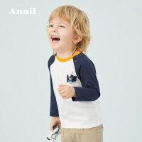 【直降价:72】安奈儿童装男小童插肩袖长袖T恤2020春季新款纯棉上衣