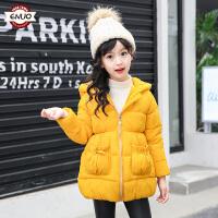 儿童冬季棉衣2018新款公主甜美圣诞帽保暖棉服中大童外套女孩