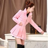 棉衣女中长款秋冬装大码修身韩版时尚蕾丝欧根纱外套加厚外套 粉 M 90斤-105斤