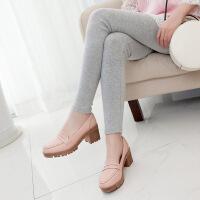 彼艾2018春季新款女鞋布洛克擦色复古单鞋韩版圆头底跟粗跟学生套脚女鞋潮