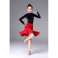 秋冬新儿童拉丁舞服装女童金丝绒体拉丁裙高领练功服比赛表演出