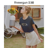 三枪T恤女士春夏水柔全棉印花圆领短袖纯棉可爱青春休闲打底女衫