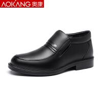 �W康棉皮鞋男冬季保暖中年高�兔扌�男士加�q皮鞋爸爸鞋