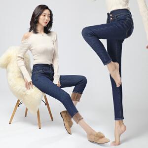 2018冬季新品新款3077#有视频高腰加绒牛仔裤女冬季保暖外穿加厚2018冬显瘦小脚裤