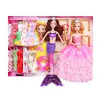 美人鱼玩具七彩闪光唱歌多贝芭比娃娃套装大礼盒公主女孩六一礼物 D5 会发光紫色鱼+芭芘公主 鱼身体长36厘米