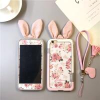 仙女印花iphone8plus手�C�ぬO果x�化膜7P玻璃彩膜6s全包�小清新 6/6s4.7寸碎花粉色