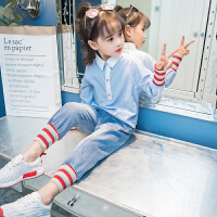 童装女童秋装套装2018新款6儿童春秋时髦7衬衫8洋气韩版潮衣9岁10