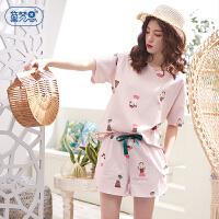 黛梦思 睡衣女夏季薄款纯棉卡通少女短袖家居服学生可爱两件套装粉嫩甜美