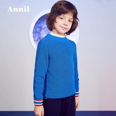 【3件3折:80.7】安奈儿童装男童2019冬季新款保暖撞色款中领毛衣 袖口下摆撞色,款式简洁大方