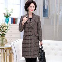 秋冬装妈妈装毛呢外套中长款中年大码女装上衣中老年呢子大衣