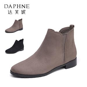 Daphne/达芙妮秋冬款舒适粗跟短靴女简约圆头通勤靴女