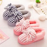 高跟棉拖鞋防滑女冬季蝴蝶结坡跟保暖包跟棉鞋厚底家居家毛毛拖