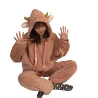 秋冬韩版情侣款宽松可爱帽子加厚保暖睡衣睡裤两件套家居服套装女 均码