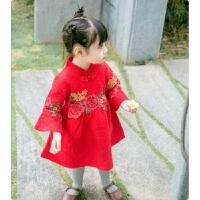 童装冬款女童加绒加厚旗袍连衣裙女宝宝红色新年唐装拜年周岁礼服 红色 喇叭袖旗袍裙