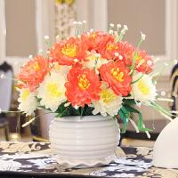 仿真花束插花客厅卧室餐桌茶几摆假花艺装饰绢花套装摆设盆栽摆件 桔红色 荷花瓶牡丹