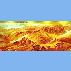 国家一级美术师,著名山水大师李可染梁树年孙奇峰得意弟子,长城画派第一人王大为巨幅金长城保证正品原作,有视频有证书