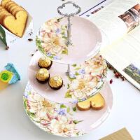 欧式点心盘三层水果盘骨瓷点心架下午茶具干果盘子陶瓷蛋糕盘子