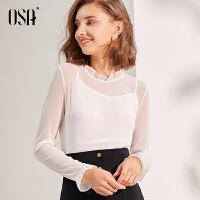 欧莎长袖白色T恤薄款打底衫女装2019新款潮初秋修身上衣百搭显瘦