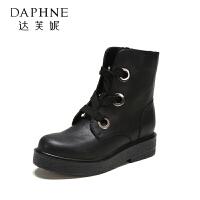 【达芙妮年货节】Daphne/达芙妮圆头休闲舒适厚底单鞋潮流系带金属装饰马丁靴女鞋