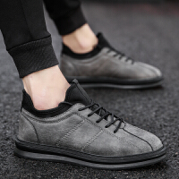 韩版潮流男士休闲鞋夏季透气英伦百搭社会小皮鞋青年时尚增高板鞋