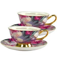 欧式骨瓷咖啡杯套装礼盒包装英式下午茶二杯二碟手工描金结婚礼物 图片色