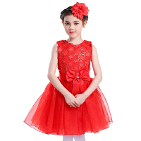 六一儿童节公主裙演出服蓬蓬裙舞蹈服纱裙女童表演服大合唱服装 无袖红色 100cm