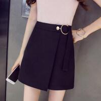 a字裙半身裙高腰一步裙新款2018夏季时尚不规则包臀裙黑色短裙子