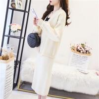 套装半身裙针织开衫两件套秋冬季女学生时尚宽松显瘦韩版毛衣厚 S 80-95斤