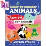 【中商海外直订】Color by number: Animals: For ages 4-8