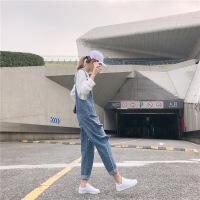背带裤女宽松2019春季新款韩版网红减龄潮显瘦高腰直筒破洞牛仔裤