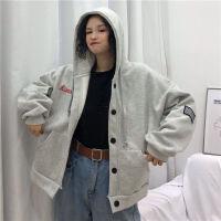 外套女秋冬季韩版宽松学生灰色开衫上衣ins百搭连帽棒球服卫衣潮