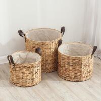 编织脏衣篮衣服收纳筐水葫芦草编脏衣篓北欧风收纳桶手工篮子