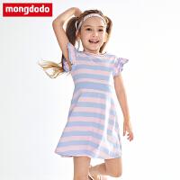 巴拉巴拉balabala旗下童装梦多多女童连衣裙2019年夏季新款中大童女童针织连衣裙